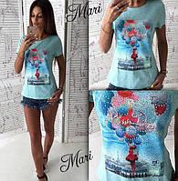 Летняя женская футболка с рисунком (два цвета) u-2117333