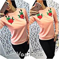 Свитшот женский с вышивкой джерси 5 цветов SSV87