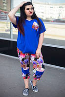 Летний цветочный женский костюм в больших размерах -1015681