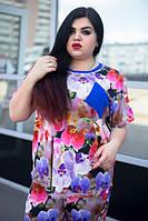 Летний красивый цветочный женский костюм в больших размерах y-1015682