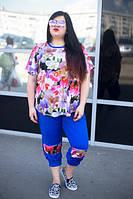 Летний красивый цветочный женский костюм в больших размерах u-1015683