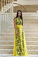 Вечернее женское желтое платье в пол Бритни Jadone Fashion 42-50 размеры