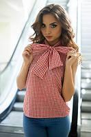 Женская клетчатая блуза из штапеля с бантом (в расцветках) u-1013183
