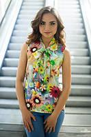 Женская цветочная блуза из штапеля с бантом (в расцветках) i-1013184
