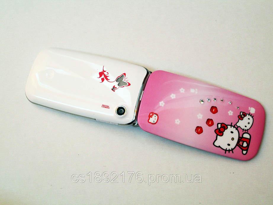"Телефон Samsung W777 Hello Kitty - 2Sim+2,4""+BT+Cam+FM - раскладушка - светодиодная подсветка"