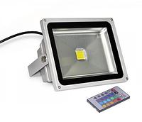 Светодиодный прожектор LEMANSO 10w RGB+пульт 6500K