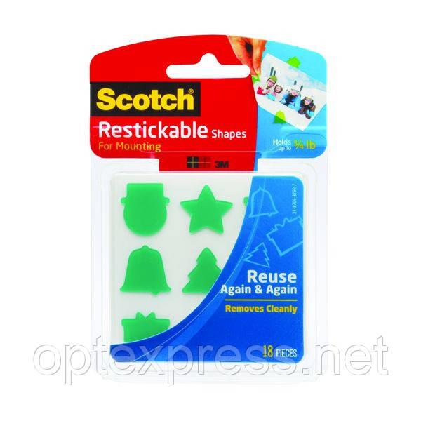 Клейкие цветные фигурки Scotch ®, легко удаляются, многоразовые, 18 шт.