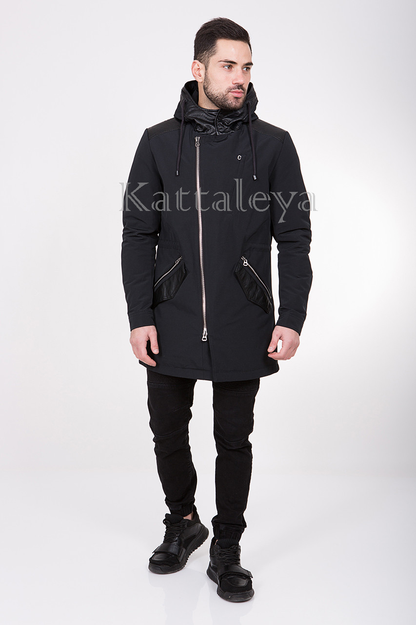 Мужская удлиненная курточка с капюшоном MC-17309 демисезон