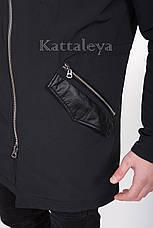 Мужская удлиненная курточка с капюшоном MC-17309 демисезон, фото 3