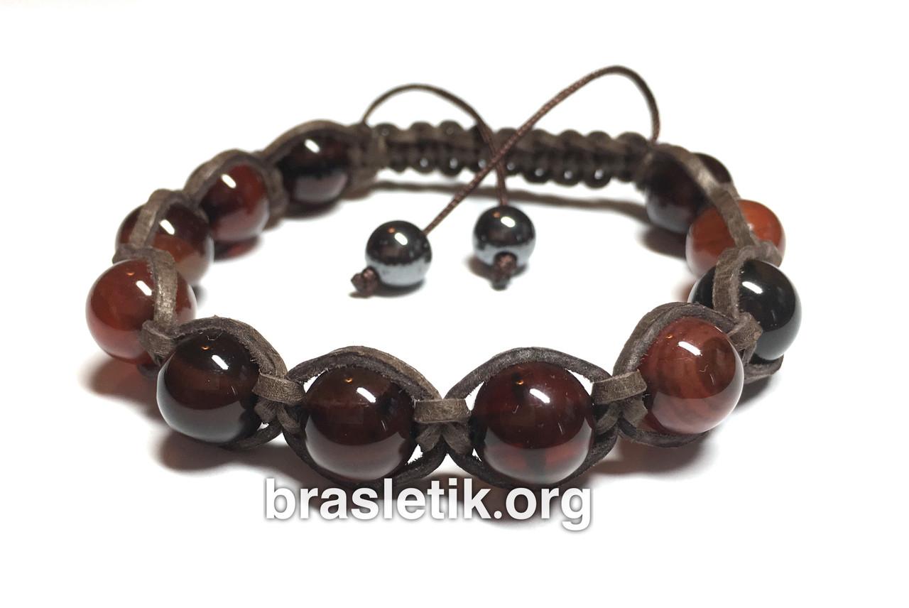 Мужской кожаный браслет из Сердолика