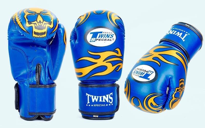 Перчатки боксерские DX TWINS синие 10-12oz