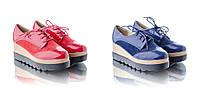 Туфли  женские на платформе крипперы красные и синие