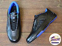 Черные мужские кроссовки Adidas Porsche Design Drive Athletic II Leather Black Blue Trainers