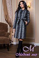 Женское серое демисезонное пальто с принтом (р. 44-60) арт. 811 Dracena/10 Тон 1