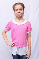 Розовая детская блуза-туника с воротником и шифоном по низу