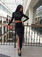 Черный женский юбочный костюм w-4510304