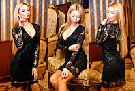 """Роскошное вечернее короткое платье до XL  """"Дариелла Пайетка"""" в расцветках (2203-9037\1 )"""