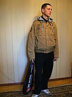Куртка мужская с капющоном, хлопок Коричневый, L