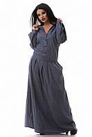 Джинсовое платье длинное размер 50,52 в горошек