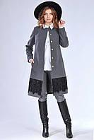 Классическое женское темно-серое пальто с кружевом