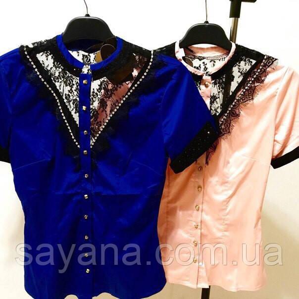 Женская блузка из гипюра с камнями SWAROVSKI, 2 цвета. Ф-23-0317
