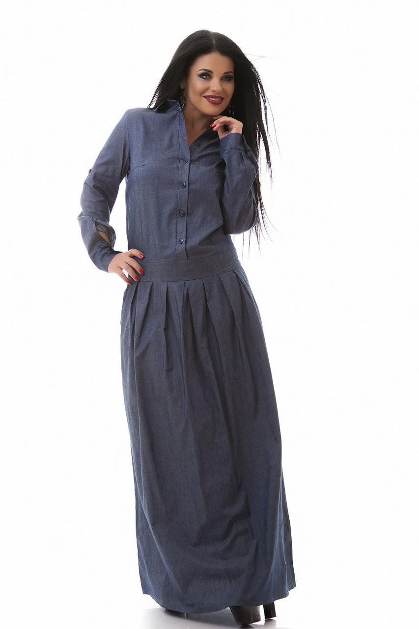 """Длинное платье джинс размер 50,52,54,56 синее - Интернет - магазин """"MariModa"""" в Киеве"""