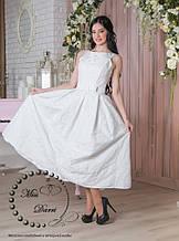 Свадебное платье белое миди (стиль ретро)