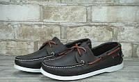 Слипоны кожаные Sebago черные с коричневой шнуровкой