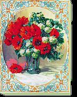 Набор для вышивания бисером на художественном холсте Маки и бульдонеж