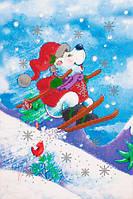 Схема для вышивания бисером Новогодний мишка-3