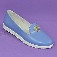 Женские кожаные туфли-мокасины на утолщенной белой подошве. Цвет голубой
