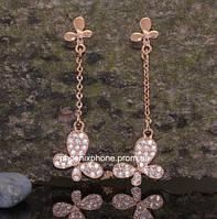 Серьги в оригинальном дизайне с пленительными австрийскими кристаллами, покрытые золотом (203650)
