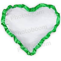 Наволочка в форме «Сердце» для сублимации, с зеленой каймой