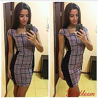 Женское платье из твида с кожаными вставками a-50031927