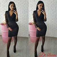 Женское платье низ дайвинг верх дорогой гипюр s-50031928