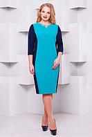 Женское платье большого размера Ирма бирюза  (52-58)