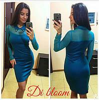 Яркое платье с рукавами и воротником из стрейч-сетки w-50031943