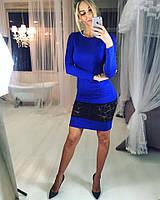 Женское платье до колена с гипюровой вставкой i-3031975