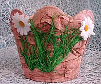 Кашпо-корзинка круглой формы из натуральных материалов ручной работы для цветочных композиций