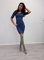 Приталенное замшевое женское платье a-1032013