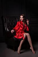 Атласный халат Красный, размеры от XS до XXL, фото 1