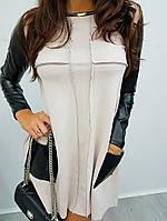 Замшевое платье с кожаными рукавами в расцветках k-56032022