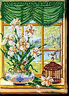 Набор для вышивания бисером на художественном холсте За окном весна-1