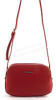 Компактная мягкая стильная женская оригинальная сумка почтальонка DAVID JONES art. 5505-2 красная