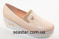Модные туфли для женщин экко-лак