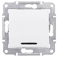 Выключатель одноклавишный с подсветкой Schneider-Electric Sedna SDN0400321 белый