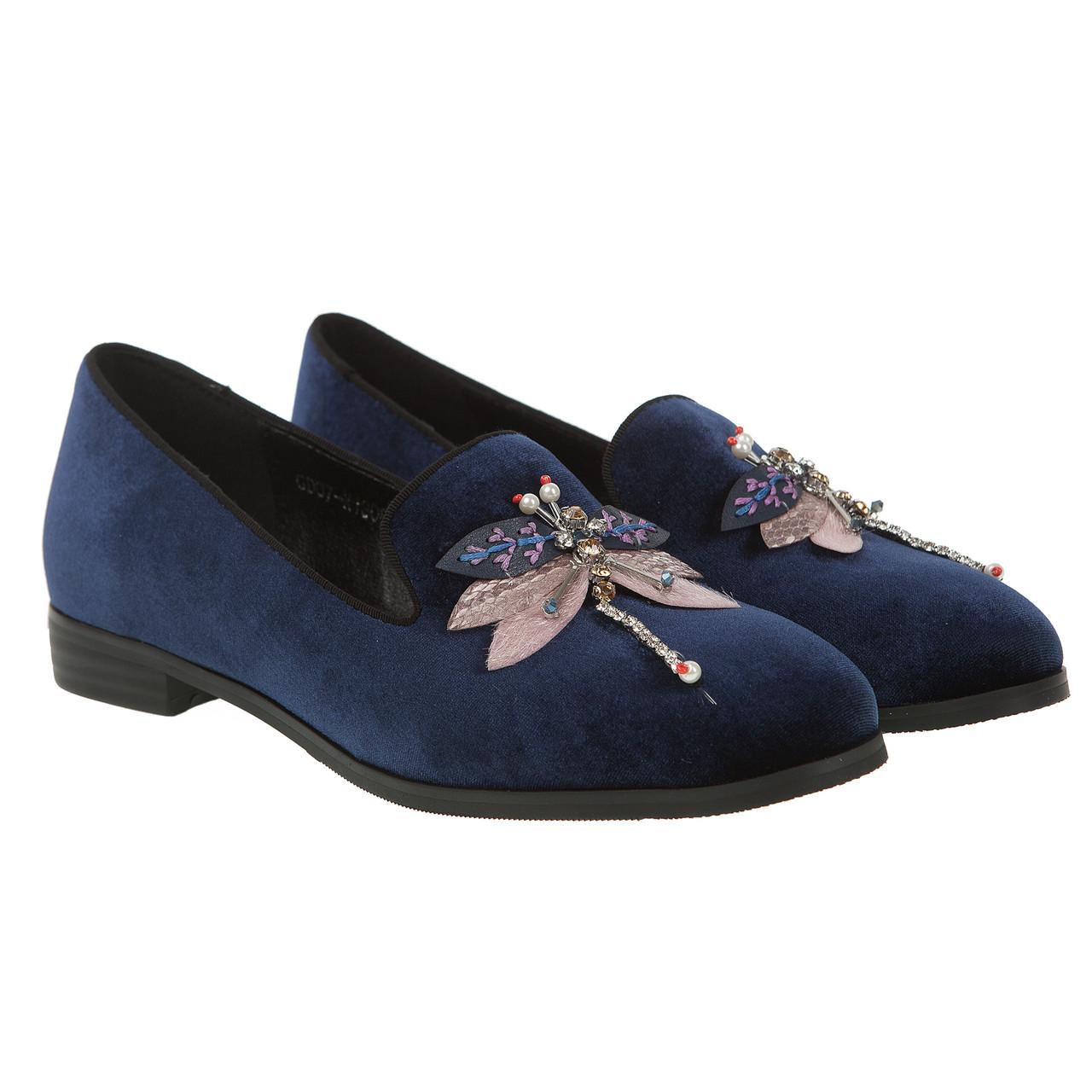 Туфли женские Summergirl (синие, велюровые, с оригинальным декором, удобные)