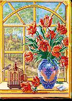 Набор для вышивания бисером на художественном холсте За окном весна-2