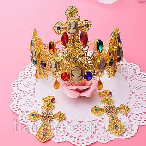 Корона с крестами диадема и серьги набор Зара в стиле Dolce&Gabbana Тиара Виктория модная