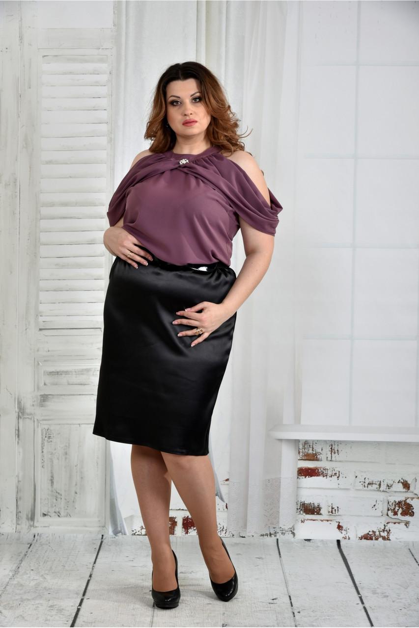Женская нарядная блуза больших размеров 0430 цвет слива размер 42-74